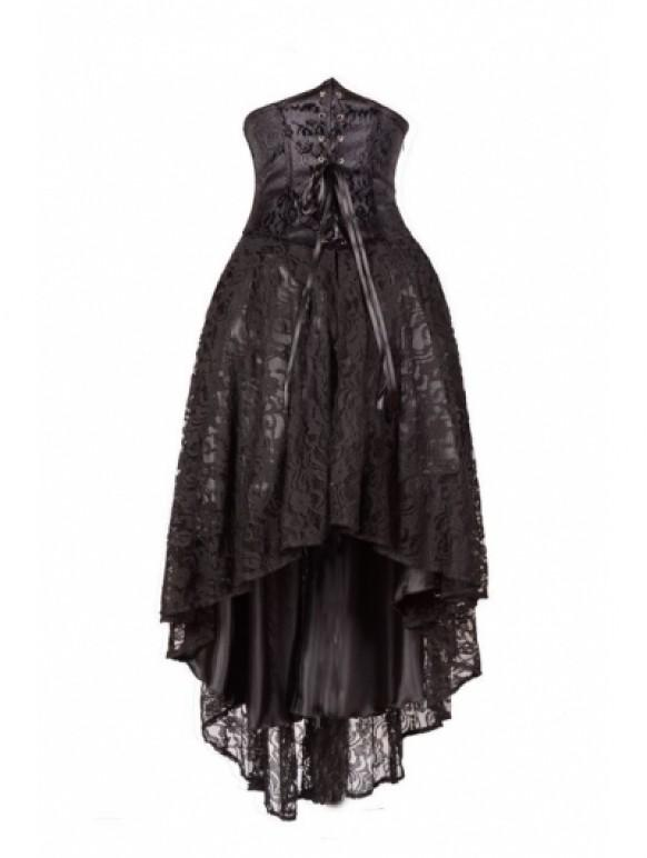 wedding photo - Black Corset Lace High-Low Gothic Party Dress