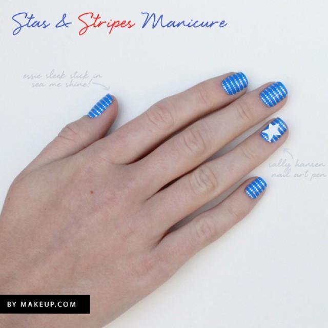 Маникюр в полоску синий и голубой