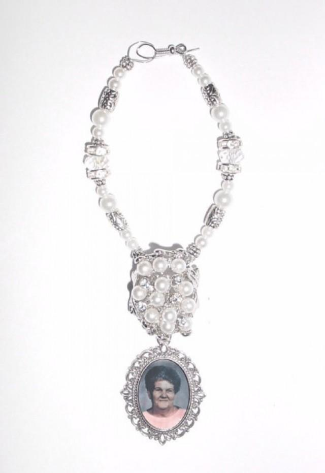 wedding photo - Wedding Bouquet Memorial Photo Old World Romance Charm Crystal Gems Pearls Tibetan Beads - FREE SHIPPING