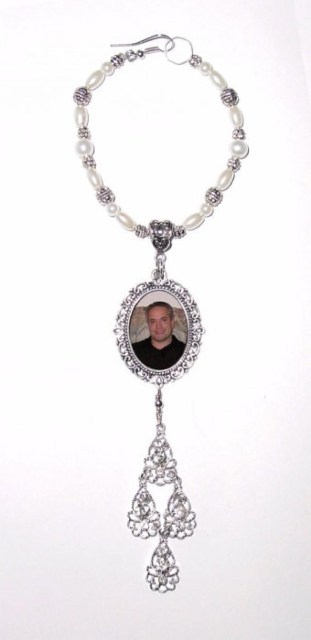 wedding photo - Wedding Bouquet Memorial Photo Charm Crystal Chandelier Gems Pearls Tibetan Beads - FREE SHIPPING