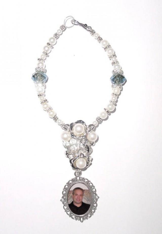 wedding photo - Wedding Bouquet Memorial Photo Charm Something Blue Splendor Gems Diamonds Pearls Tibetan Beads - FREE SHIPPING