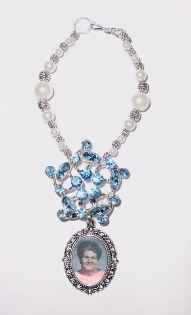 wedding photo - Wedding Bouquet Memorial Photo Oval Something Blue Metal Charm Crystal Gems Pearls Silver Diamond Tibetan Beads - FREE SHIPPING