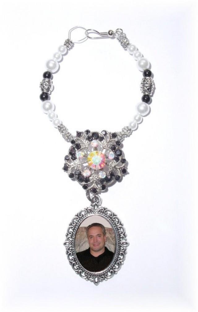 wedding photo - Wedding Bouquet Memorial Formal Affair Photo Oval Metal Charm Crystals Pearls Silver Tibetan Beads - FREE SHIPPING