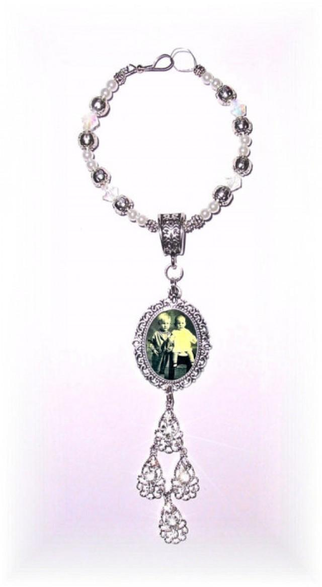 wedding photo - Wedding Bouquet Memorial Photo Oval Metal Charm Crystal Gems Pearls Silver Filigree Diamond Tibetan Beads - FREE SHIPPING