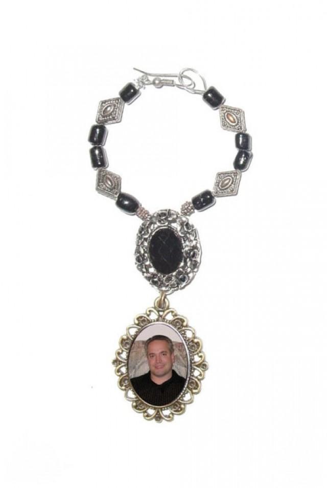 wedding photo - Wedding Bouquet Memorial Photo Oval Silver Bronze Metal Charm Black Gems Glass Beads - FREE SHIPPING