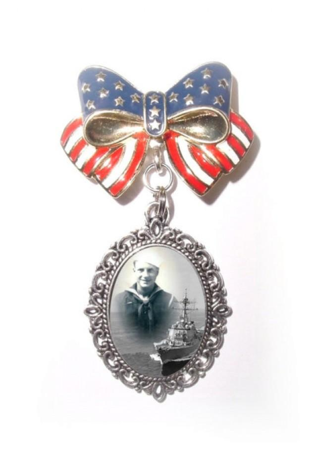 wedding photo - Memorial Photo Brooch Red White And Blue Ribbon Military Vet Soldier American Flag - FREE SHIPPING