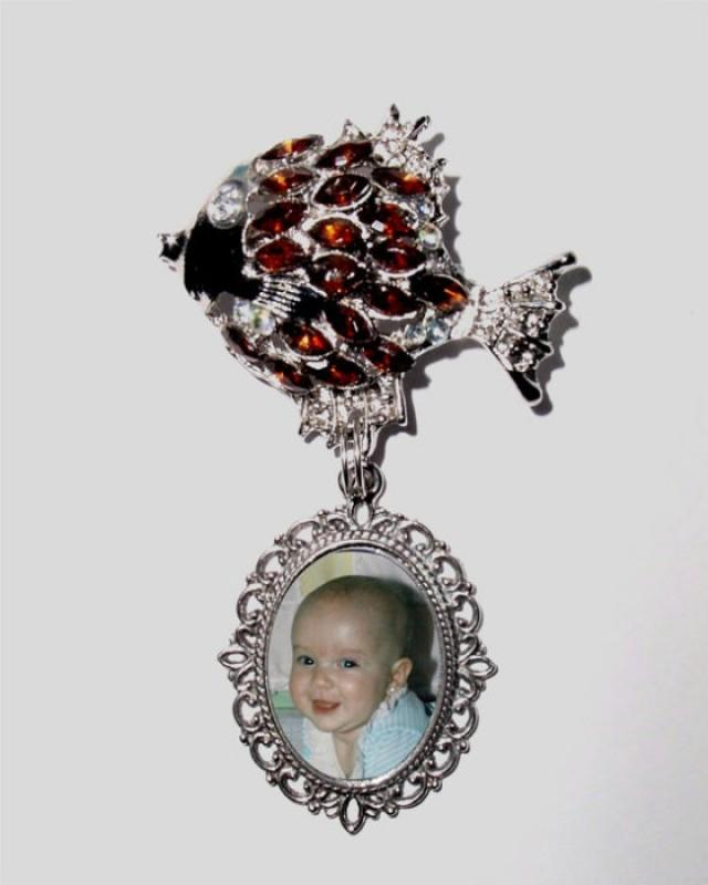wedding photo - Memorial Photo Brooch Antiqued Amber Gold Fish Silver Crystal Gem - FREE SHIPPING