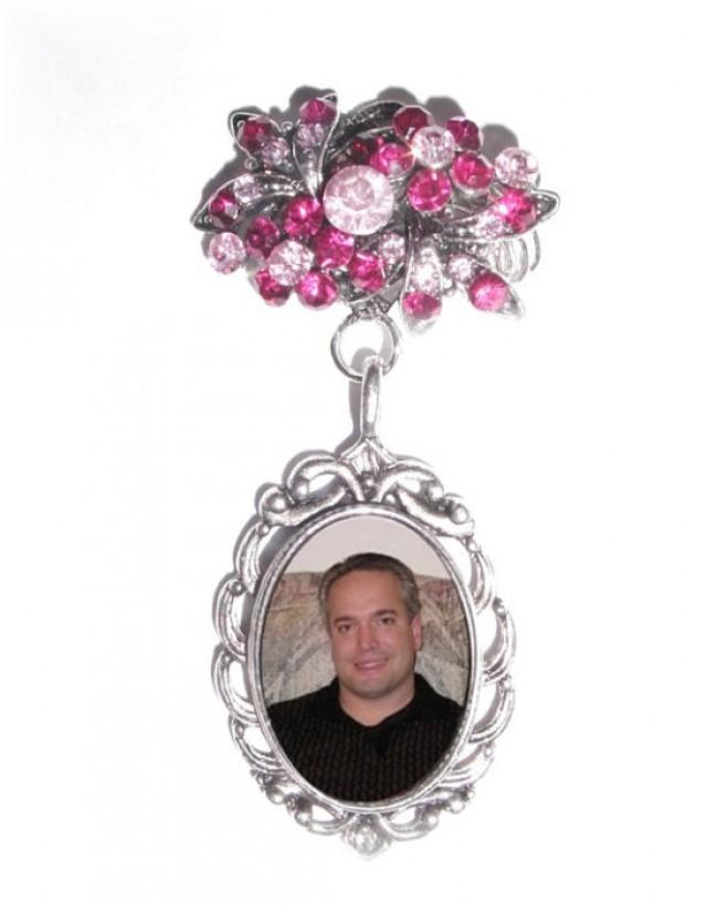 wedding photo - Memorial Photo Brooch Oval Metal Charm Old World Pink Crystals Gems - FREE SHIPPING