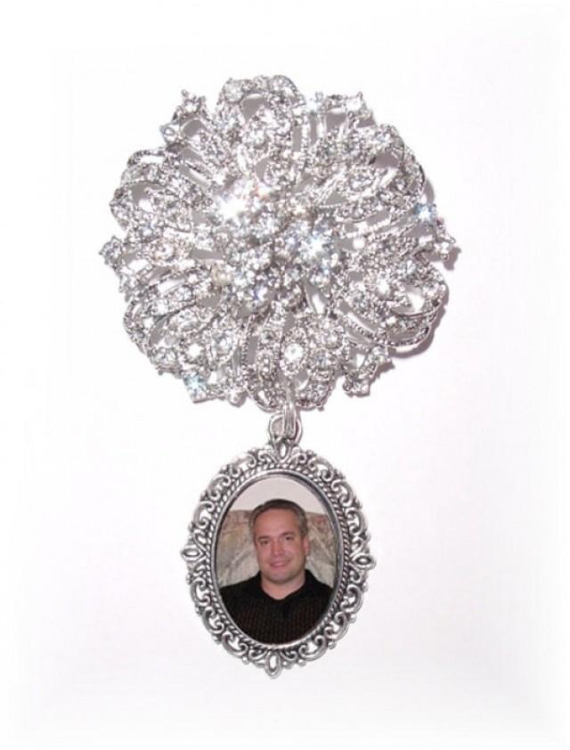 wedding photo - Memorial Photo Timeless Old World Charm Brooch Crystal Gems Silver - FREE SHIPPING
