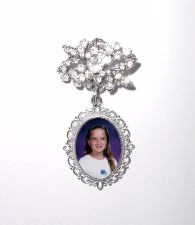 wedding photo - Memorial Photo Brooch Old World Elegance and Charm Antiqued Silver Crystal Gem - FREE SHIPPING