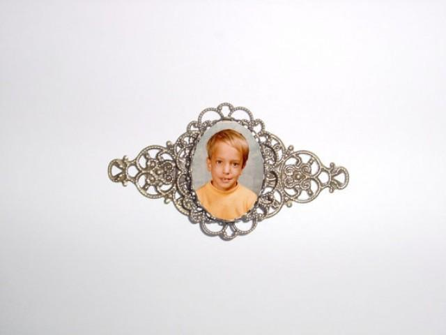 wedding photo - Memorial Photo Brooch Antiqued Bronze Filigree - FREE SHIPPING
