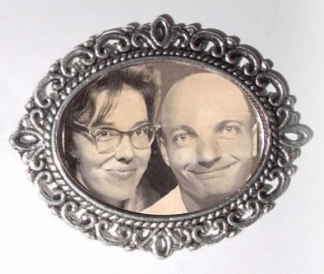 wedding photo - Memorial Photo Brooch Antiqued Silver - FREE SHIPPING
