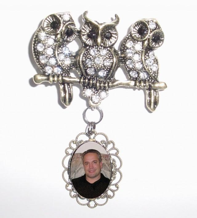 wedding photo - Memorial Photo Brooch Bronze Owls Branch Crystal Gems - FREE SHIPPING