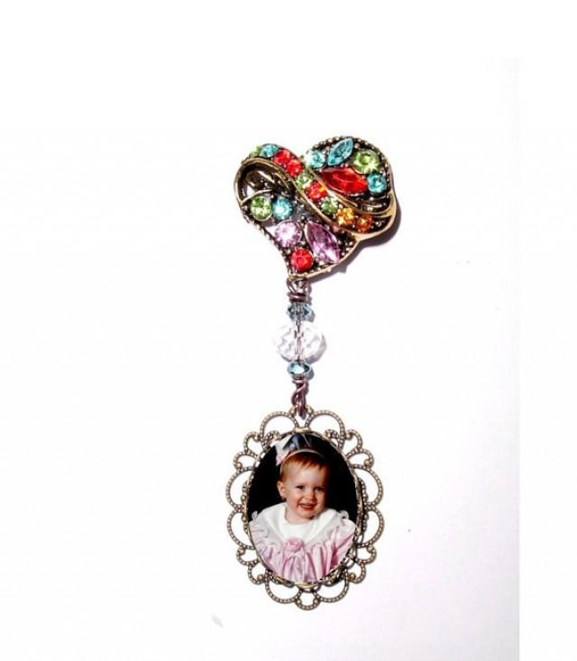 wedding photo - Memorial Photo Brooch Bronze Multi Colored Crystal Gems Heart - FREE SHIPPING