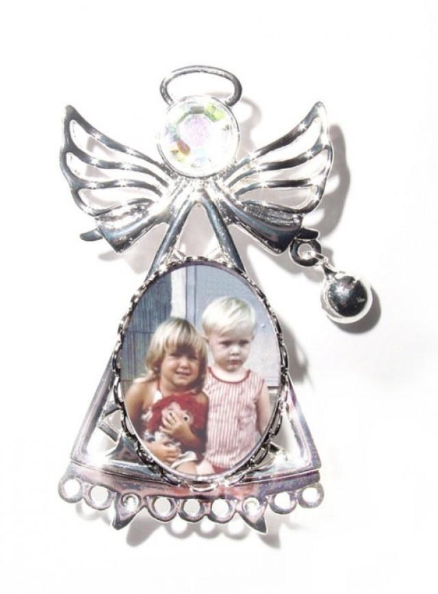 wedding photo - Memorial Photo Angel Brooch Silver Crystal Gem - FREE SHIPPING