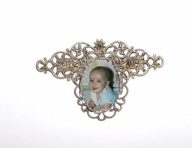 wedding photo - Memorial Photo Brooch Antiqued Bronze Filigree - FREE SHIPPING
