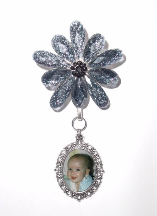 wedding photo - Memorial Photo Charm Brooch Blue Floral Silver - FREE SHIPPING