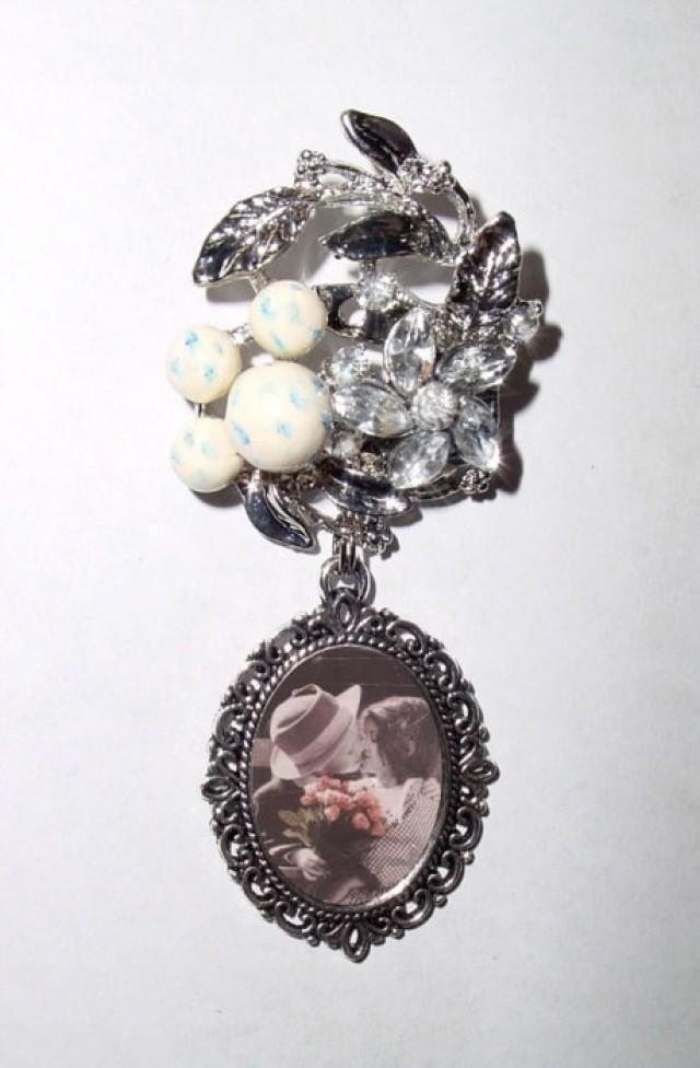 wedding photo - Memorial Photo Brooch Silver Victorian Floral Crystal Gems Robin Egg Pearls Beads - FREE SHIPPING