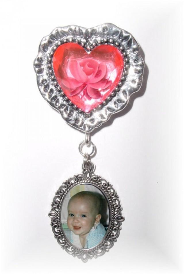 wedding photo - Memorial Photo Charm Brooch Pinkish Red Rose Silver Heart - FREE SHIPPING