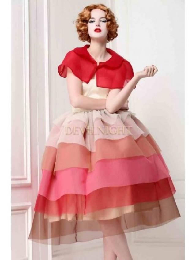 wedding photo - Elegant 1950 Style Vintage Party Dress with Short Cloak