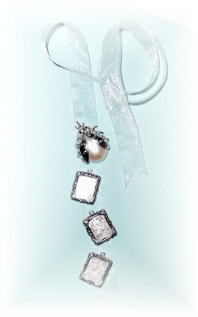 wedding photo - DIY - Wedding Bouquet Memorial Triple Silver Square Pearl Ladybug Photo Ribbon Mini Charm