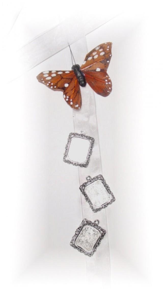 wedding photo - DIY - Wedding Bouquet Memorial Triple Silver Square Monarch Butterfly Photo Ribbon Mini Charm