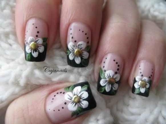 Black French Manicure with Flowers Nail Art