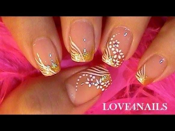 Special Occassion Nail Art Design Tutorial Gold White 1929611