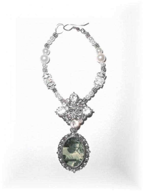 wedding photo - Wedding Bouquet Memorial Photo Old World Charm Crystal Gems Pearls Tibetan Beads - FREE SHIPPING