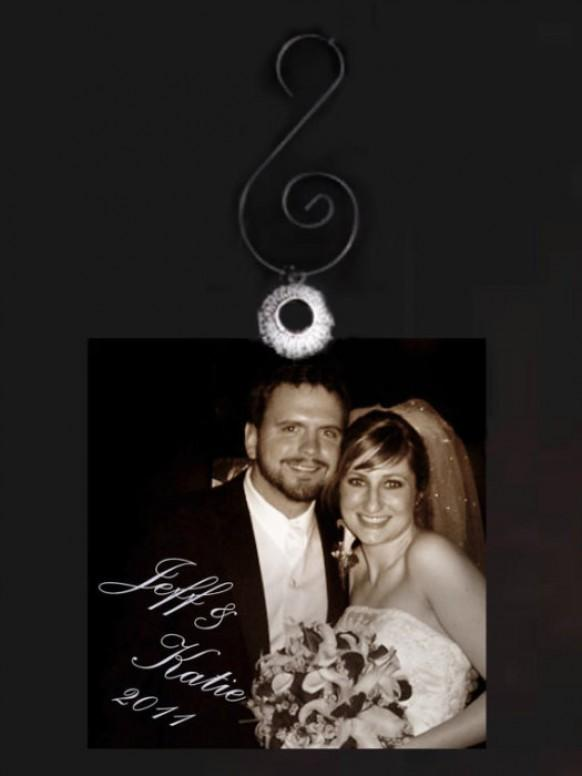 wedding photo - Personalized Glass Christmas Ornaments