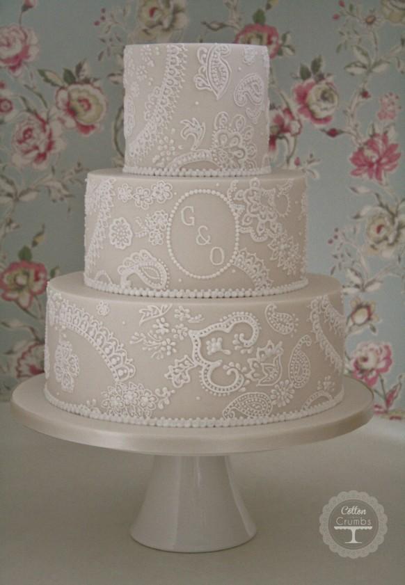 Easy Lace Cake Design : Wedding Cakes - Paisley Lace Wedding Cake #1972155 - Weddbook