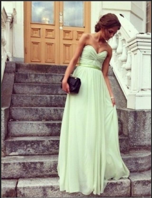 wedding photo - Chic Sage Sweetheart Floor Length Prom Dress/Graduation Dress