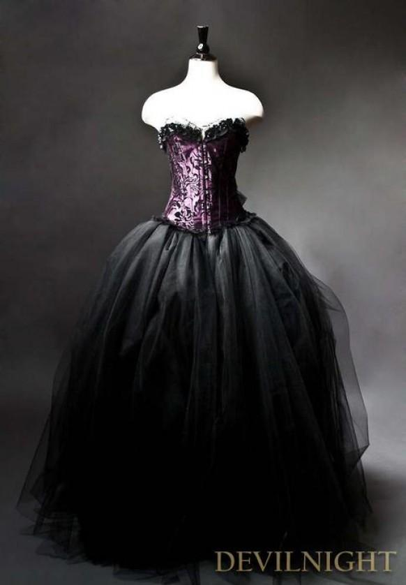 wedding photo - Purple and Black Gothic Burlesque Corset Prom Gown