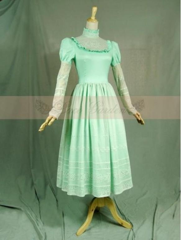 wedding photo - Green Vintage Long Sleeves Romantic Victorian Dress