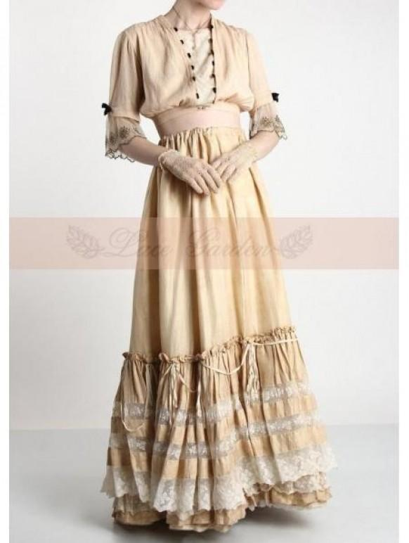 wedding photo - Ivory LacVintage Victorian Skirt
