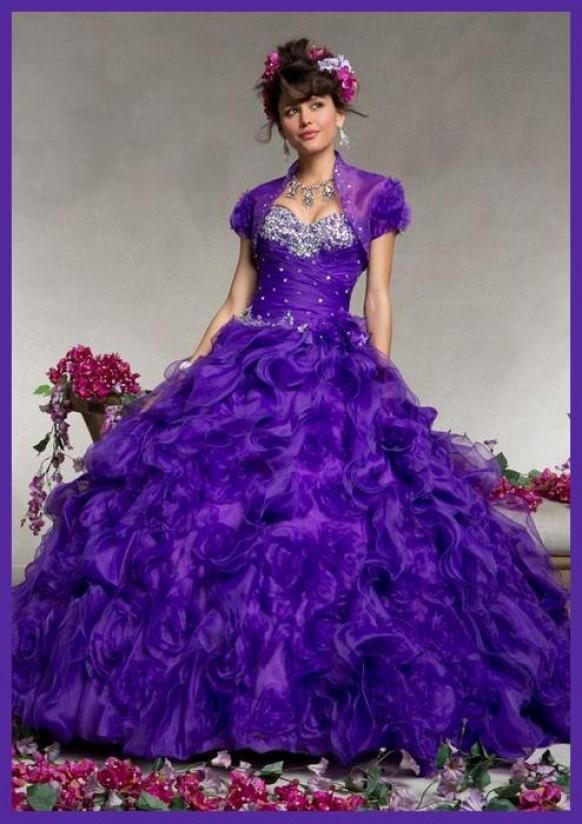 wedding photo - Purple Ruffled Beaded Sweetheart Neck Quinceanera Gown