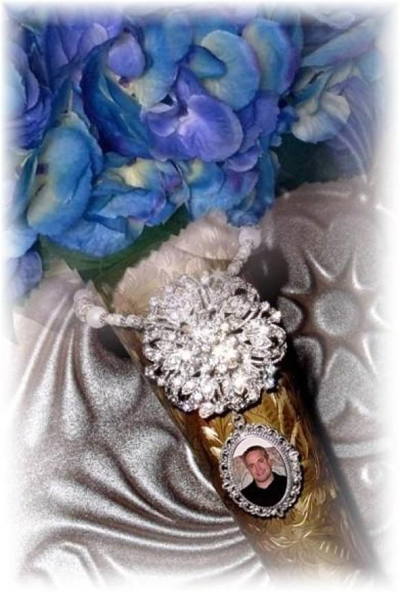 wedding photo - Wedding Bouquet Memorial Photo Timeless Old World Charm Crystal Gems Pearls Silver Tibetan Beads - FREE SHIPPING