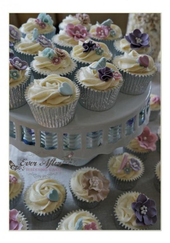 wedding photo - Vintage Spring Garden Wedding Cupcakes