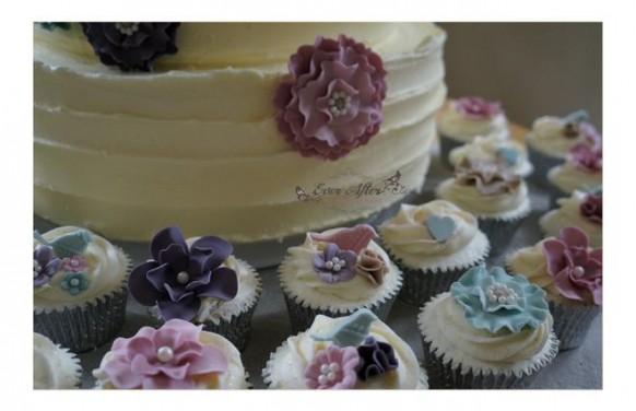 wedding photo - Spring Garden Wedding Cake & Cupcakes