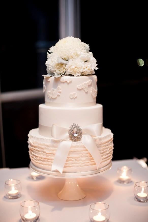 The White Three Tiered Wedding Cake