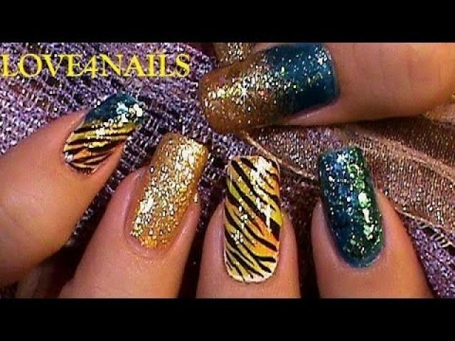 Turquoise Gold Tiger Carnival Nail Art Design Tutorial 2007252