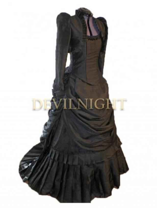 wedding photo - Black Gothic Victorian Bustle Dress with Long Sleeves Short Jacket