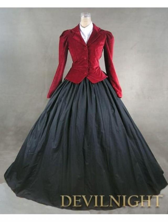 wedding photo - Red Jacket Winter Gothic Victorian Costume Dress