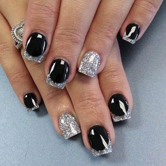 Дизайн ногтей черное с серебром фото