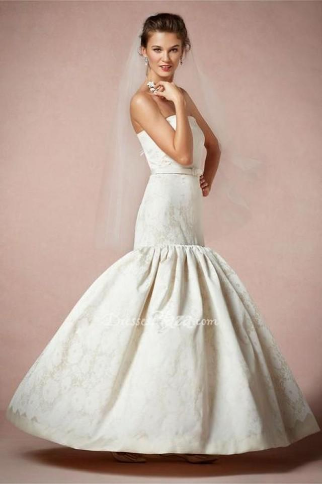 Timeless ivory satin strapless fit and flare wedding dress for Ivory satin wedding dress