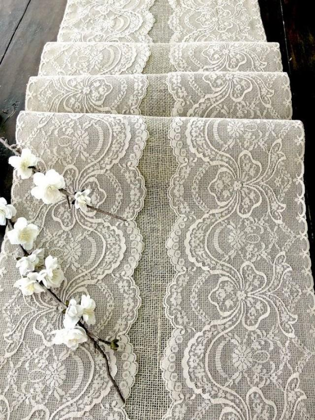 wedding table runner with beige lace rustic chic wedding tablecloth