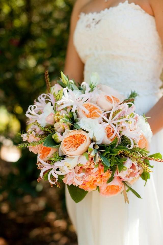 Bridal Bouquets Using Peonies : Peach wedding peony bridal bouquet weddbook