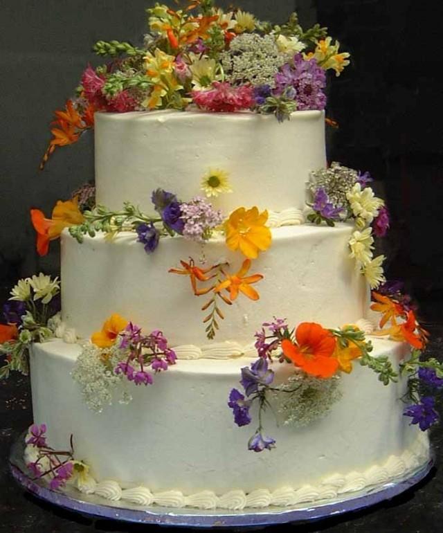 Garden wedding wild flowers wedding cake 2032717 for Garden wedding cake designs