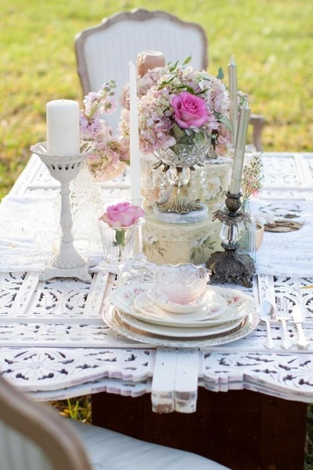 Pink Shabby Chic Wedding Table Setting 2032820 Weddbook