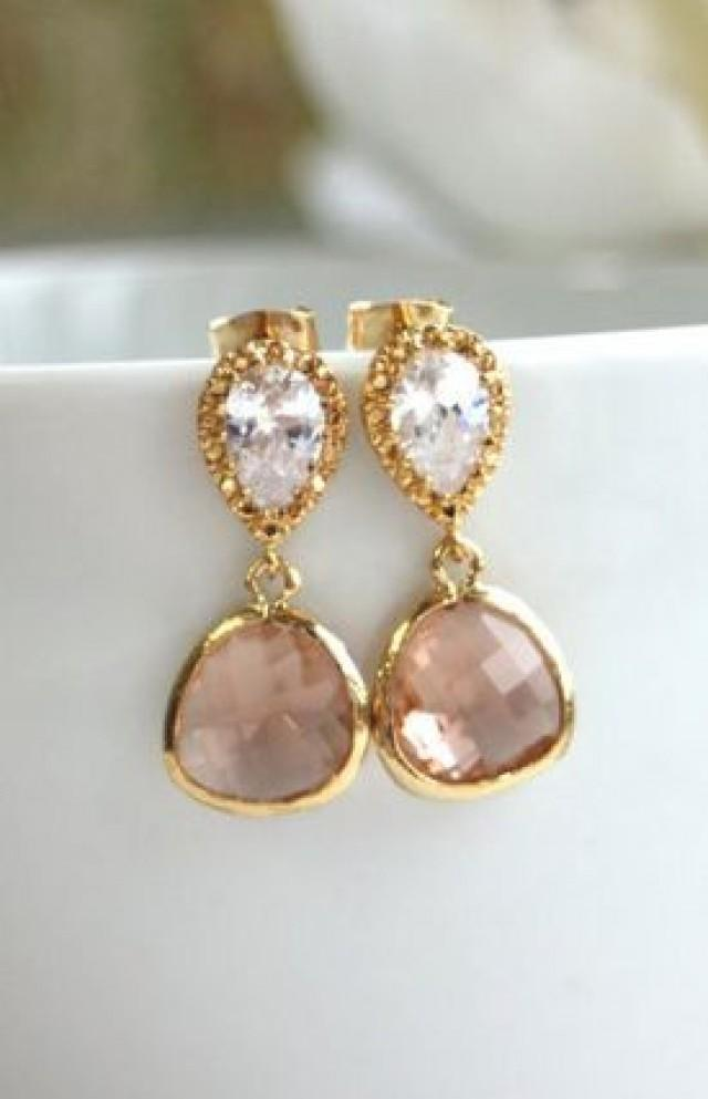 A gold plated champagne peach drop jewels earrings for Jewelry for champagne wedding dress